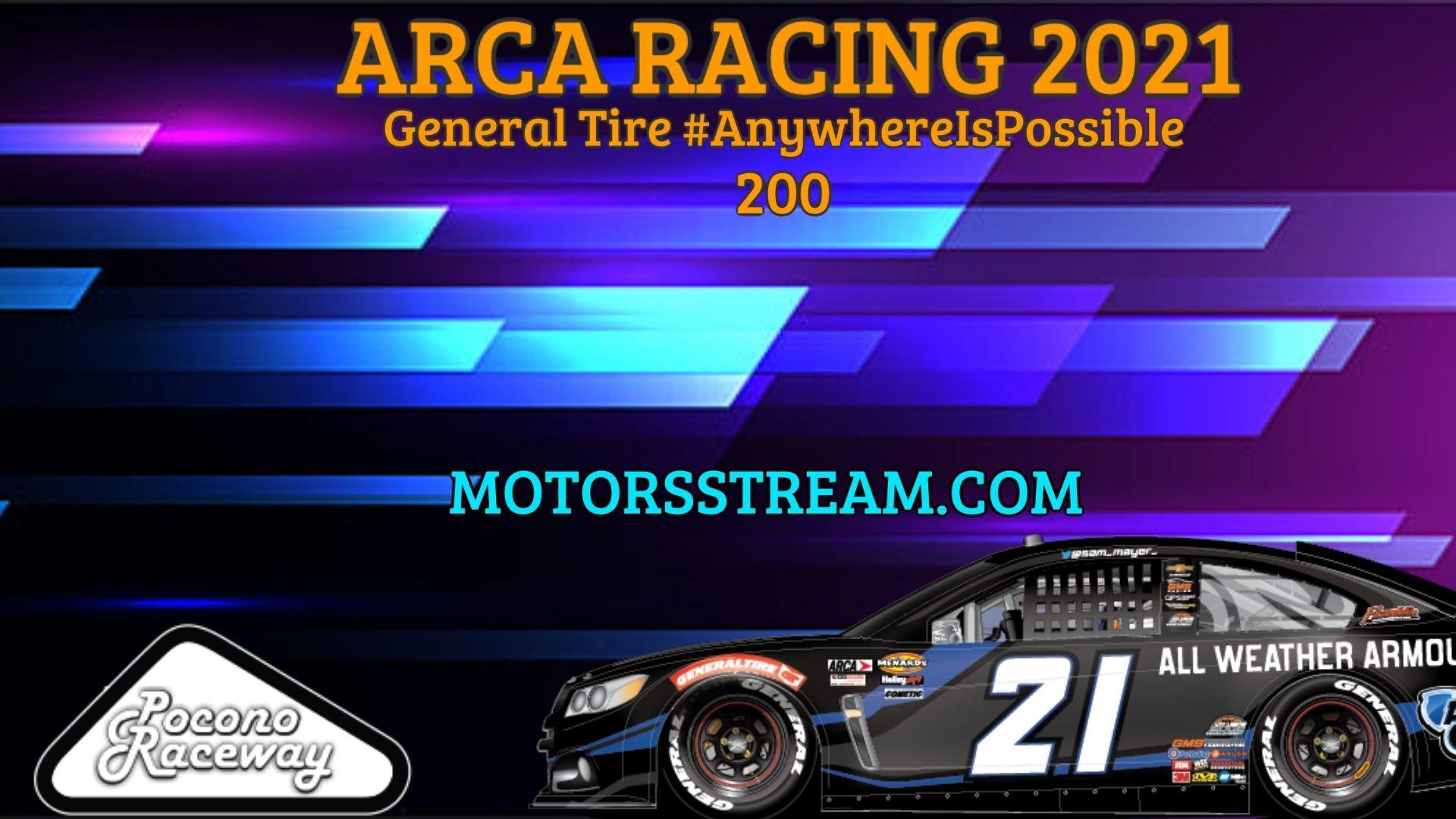 ARCA Menards Series Pocono Live Stream