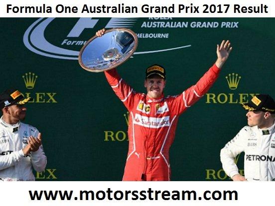 2017 F1 Australian Grand Prix Result